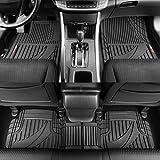 Motor Trend Black FlexTough Advanced Performance Mats - 3pc Rubber Floor Mats for Car SUV Auto All Weather Plus - 2 Front & Rear Liner (Black)