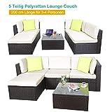 Polyratten Lounge 5 Teilig Sitzgruppe Gartenmöbel Garnitur für 3-4 Personen - 4
