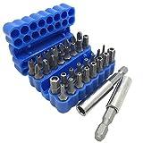 FineGood - Juego de 34 puntas de destornillador con soporte magnético de extensión para puntas de destornillador SAE métricas hexagonales métricas Tri-Wing Thirq, color azul