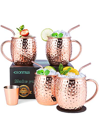 esonmus Tazza Moscow Mule, Set di Bicchieri di Rame Fatto a Mano con 4 x Tazze & Sottobicchieri & Cannucce per Cocktail, 1 x Misurino per Gin, Boccali per Birra, Regalo