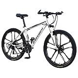 Ninasill 26 Inch Folding Mountain Bike, Full Suspension Road Bikes with Disc Brakes, 21 Speed Bicycle Full Suspension MTB Bikes for Men/Women - US Stock White
