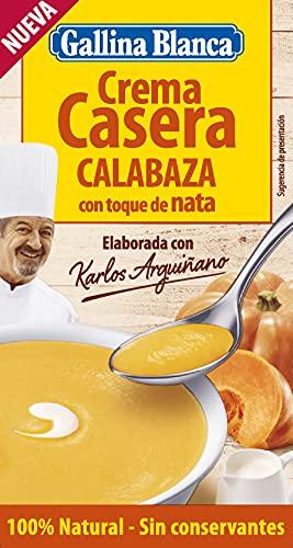 Gallina Blanca Crema Casera de Calabaza con Toque de Nata 100% Natural   Elaborada con Karlos Arguiñano. Ingredientes de Origen Natural: Calabaza, Zanahoria, Cebolla y Nata. Sin Conservantes - 500ml