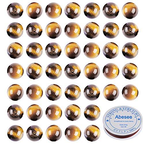 Abesee 100PCS 8mm Natural Tiger Eye Loose Gemstone Round...