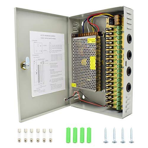 Caja de fuente de alimentación estabilizada con 18 salidas de canal para cámaras de videovigilancia CCTV DC 12V 20A 18 CH