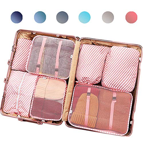 PACTIVE Packing Cubes for Travel, 6/7/8/9 Set Luggage Organizer (7 Pink Striped)