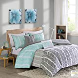 Intelligent Design Cozy Comforter Geometric Design Modern All Season Vibrant Color Bedding Set with Matching Sham, Decorative Pillow, Full/Queen, Adel Aqua, 5 Piece