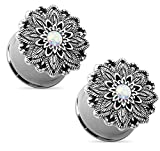 Pair of Opal Centered Antique Silver Plated Lotus Flower Top Double Flared Tunnels Ear Plug Gauges Piercings - 7 Sizes Available (6mm - 2GA)