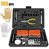 Kit de Réparation de Pneu 100PCS, TECCPO Kit de Reparation avec Mèches...