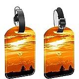 Yitian Beautiful Sunset 2 etiquetas de cuero para equipaje de viaje