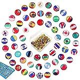 100 punaise épingles décoratives National Flag Thumb Tacks Cartes de pays épingles Pointes en...