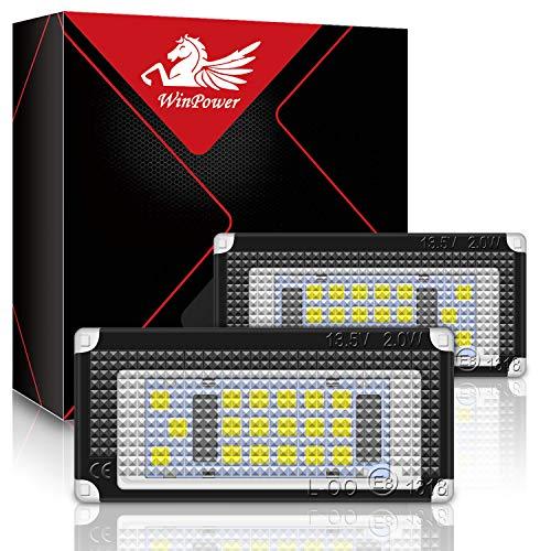 WinPower LED Luci targa per auto Lampada targa 3582 SMD con CanBus nessun errore 6000K Xeno Bianco freddo per Mini Cooper R50/R52/R53 ecc, 2 Pezzi