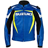 SUZUKI BLUE LEATHER STREET MOTORCYCLE JACKET (SM-2X) 990A0-21235 (L)