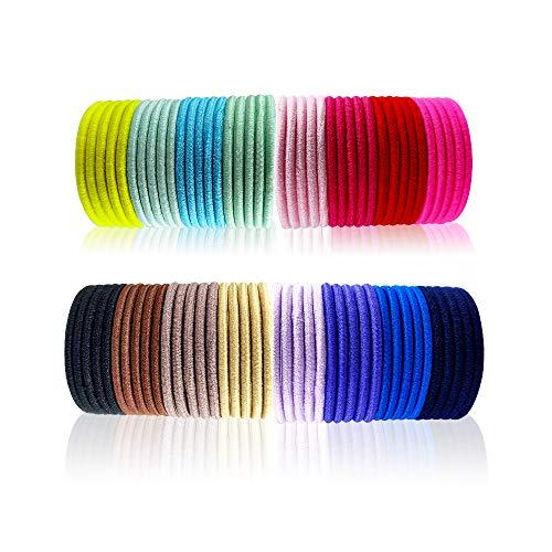 Ealicere 80 Pezzi Fasce Elastici per Capelli 4 mm Legami Coda di Cavallo Multicolore Capelli Elastic...