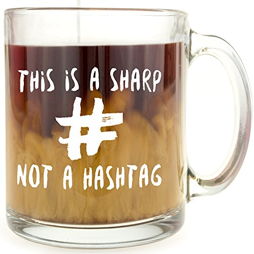 This is a Sharp, Not a Hashtag Glass Coffee Mug - Makes a...