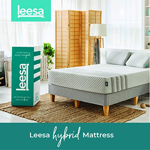 "Leesa Hybrid Mattress (formerly Sapira), Luxury Hybrid 11"" Mattress in a Box, CertiPUR-US Certified 3 Layer Spring/Memory Foam Construction, King, White & Gray"