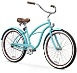 sixthreezero Women's Single Speed Beach Cruiser Bicycle, Teal Blue w/ Brown Seat/Grips, 26' Wheels/17' Frame