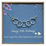 EFYTAL Happy 50th Birthday Gifts for Women Necklace, Sterling Silver 5 rings five Decades Necklaces Gift Ideas