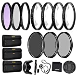 55mm Precision 10-PC Filter Kit Accessory Bundle - Includes UV, CPL, FLD, ND2, ND4, ND8 and 4 Macro Close-up Filters, Lens Hood, Cap, Cases and More