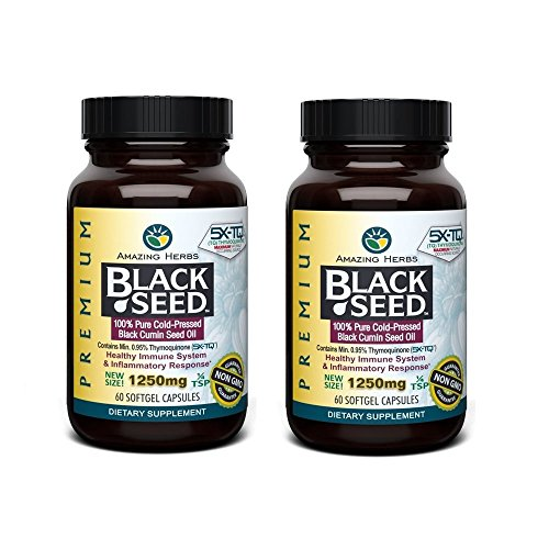 Amazing Herbs Premium Black Seed Oil 1250mg - 60 Softgels - Cold-Pressed Black Cumin Seed Oil - Immune System (2 Pack) 1