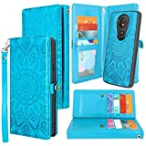 Moto G7 Power Case, Harryshell Detachable Magnetic 12 Card Slots Wallet Case Shockproof PU Leather Flip Protective Cover Wrist Strap for Motorola Moto G7 Supra / G7 Optimo Maxx (Flower -Blue)