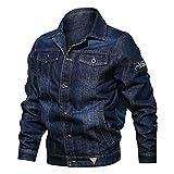 HUITAILANG Veste en Jean Hommes, Veste en Jean Multi-Poches avec Broderie Revers, Manteau De Mode, Bleu, 2X, Grand