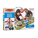 Melissa & Doug Classic Railway Wooden Train Set (82 Pieces – Magnetic Trains, Car, Tracks, Buildings, Play Figures, Great Gift for Girls and Boys - Best for 3, 4, 5, and 6 Year Olds)