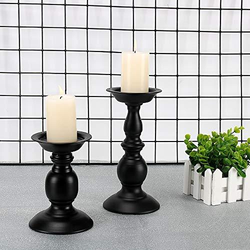 GoMaihe Retro Kerzenhalter 2 Set in Unterschiedlicher Größe, 22/15.5cm Antik Kerzenständer Eisen Deko Kerzenleuchter für Stumpenkerzen, Vintage Tischdeko Hochzeit für Weihnachten Geburtstag.MEHRWEG