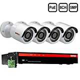 BTG 8CH 5MP 4 Cameras PoE Security Camera System 4K NVR Built-in PoE with Outdoor 5MP Surveillance...