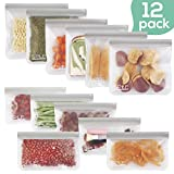 SPLF 12 Pack FDA Grade Reusable Storage Bags (6 Reusable Sandwich Bags, 6 Reusable Snack Bags), Extra Thick Leakproof Silicone and Plastic Free Ziplock Lunch Bags Food Storage Freezer Safe