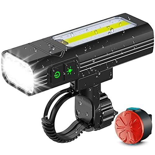 Luci Bicicletta LED Ricaricabili USB, Super Luminoso Ricaricabili Luci Bici Anteriori e Posteriori IPX65 Impermeabile, con Luce Laterale COB, 5 Modalit, Staffa Regolabile