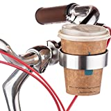 Ecity Bicycle Handlebar Coffee Cup Holder Aluminum Cup Bottle Handlebar Holder Cruiser Bike Mountain Road Bicycle Bike Water Bottle Coffee Cup Holder (Silver)