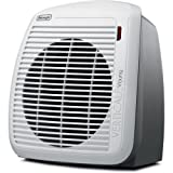 De'Longhi Portable Fan Heater, Quiet 1500W, 2 Settings, Energy Saving, Overheat Protection, Compact & Ideal for Small to Medium Sized Rooms, White / Gray - HVY1030