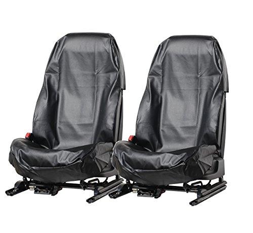 LP24 A077 2 Stück Sitzschoner Werkstattschoner Sitzbezug aus robustem Kunstleder Schwarz Schonbezug wasserdicht pflegeleicht für Sitze mit und ohne Airbag Seitenairbag