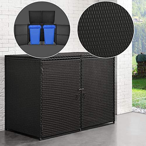 Juskys Mülltonnenbox MOL | Aufbewahrungsbox für 2 Tonnen | 1,2m² | Türen abschließbar | Poly-Rattan | schwarz | Mülltonnenverkleidung