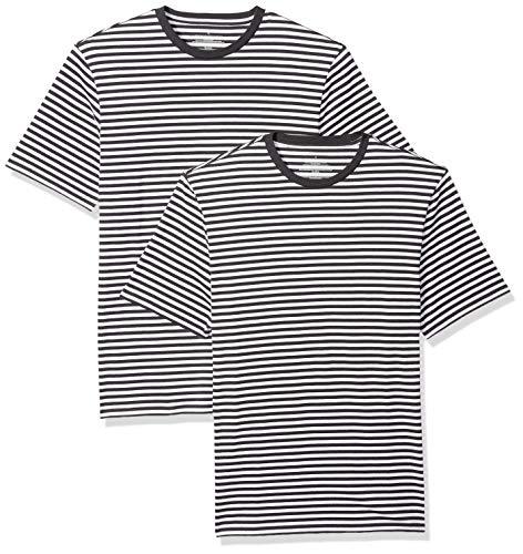 Amazon Essentials - Camiseta de manga corta holgada con cuello redondo y diseño a rayas para hombre, Negro/Blanco, Small, (Pack de 2)