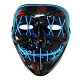 AUHOO LED Purge Mask Light up Halloween Mask Scary Masks for Adults & Kids, 3 Flash Modes, Party Favors (Blue)