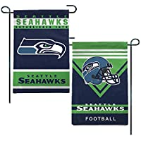 "12.5""X18"" In size with top pole sleeve for hanging from your garden stand Decorated with bold and vibrant team colored graphics. Features reinforced grommet holes, attaches easily to any flag pole. Perfect for your garden, window, front entrance, or ..."