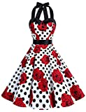 Dressystar Vintage Polka Dot Retro Cocktail Prom Dresses 50's 60's Rockabilly Bandage White Black Rose M