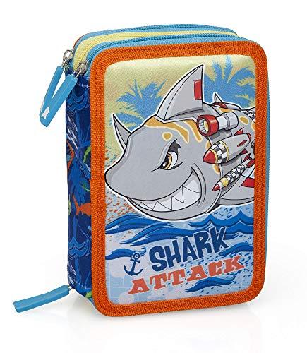Squalo Shark 14164 Astuccio Triplo Riempito, 44 Accessori Scuola, 20 Centimetri