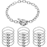 Junkin 20 Pieces Chain Bracelets Stainless Steel Link Bracelet Round Link Chain Bracelets with OT Toggle Clasp Jewelry Bracelet Making Chain for Women Girls Christmas Birthday (Silver)