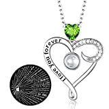 Zavest Birthday Gifts Mum August Birthstone Peridot Jewellery I Love You Necklace 100 Languages Sterling Silver Pendant Necklace