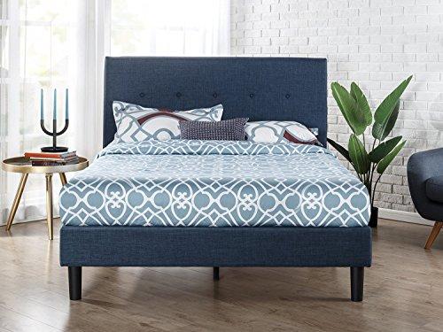 Zinus Omkaram Upholstered Platform Bed With Wood Slat Support, Queen