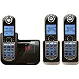 Motorola DECT 6.0 Cordless Phone with 3 Handsets, Digital Answering System and Customizable Color Back Plates P1003