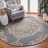 Safavieh Dip Dye Collection DDY510B Handmade Medallion Premium Wool & Silk Area Rug, 7' x 7' Round, Slate / Beige