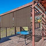 Windscreen4less Exterior Roller Shade Blinds Outdoor Roll Up Shade Privacy for Deck Back Yard Gazebo...
