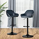 Glitzhome Mid Century Bar Stools Set of 2 Vintage Swivel Leather Bar Chair with Backrest and Footrest, Modern Pub Kitchen Counter Height Barstools, Dark Blue