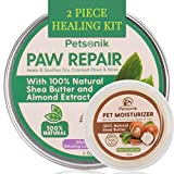 Paw Balm for Dogs - 100% Natural Pad, Nose & Skin Repair Kit – 2 Pc Soother Kit, Dog Paw Balm Lotion (2 oz) Plus Paw Cream Moisturizer (3 oz) for Dogs with Cracked Winter Paws or Dry Frenchie Pads