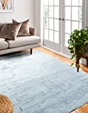 Bashian Radiance collection WZ hand loomed 100% banana silk area rug 5.6X8.6 Sky