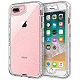 iPhone 8 Plus Case, iPhone 7 Plus Case, Anuck Crystal Clear 3 in 1 Heavy Duty Defender Shockproof Full-Body Protective Case Hard PC Shell Soft TPU Bumper Cover for iPhone 7 Plus/8 Plus, Clear Glitter