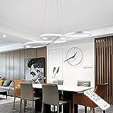 SUNMOO Modern LED Chandelier Dining Room Pendant Light Dimmable Creative Chandelier Remote Control Color/Brightness 3000-6000K Adjustable Hanging Lamp for Bedroom Living Room Kitchen 60W (Silver)